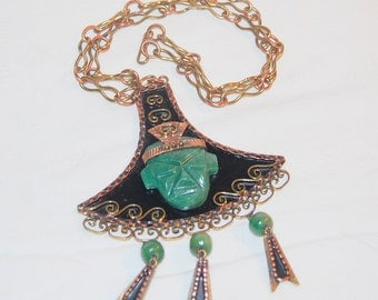 Mexico Copper Mask Necklace Vintage Pendant Aztec Warrior Face