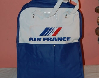 Air France Airline Travel Bag Vintage Luggage Purse Carry All Retro Kitsch Vinyl Bag