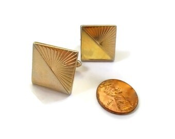 Vintage Swank Cuff Links 1950s Geometric Optical Gold Toned