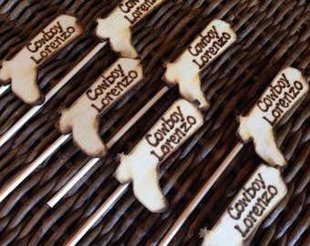A Lil' Cowboy is on His Way! Western Themed Baby Shower Cupcake Toppers Country Cowboy Boots - Set of 12 (1 dozen)