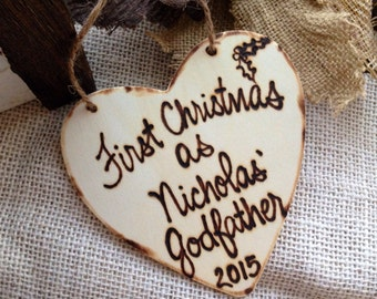 Christmas Ornament First Christmas as Godfather Godmother Personalized with Name and Year