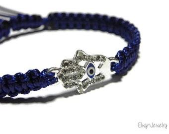 Blue Evil Eye Bracelet, Hamsa Bracelet, Navy Blue Cord Bracelet, Macrame Bracelet, Women's Cord Bracelet, Braided Bracelet, Hamsa Evil Eye
