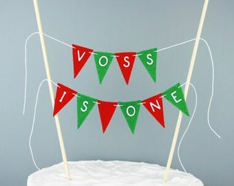 Personalized First Birthday Cake Topper in Red and Green, Christmas One Year Old Birthday Banner, Custom Topper, December Smash Cake Topper