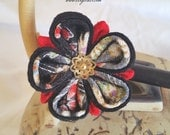Black Print with Black and Red Tsumami Kanzashi Fabric Flower Hair Stick Decoration