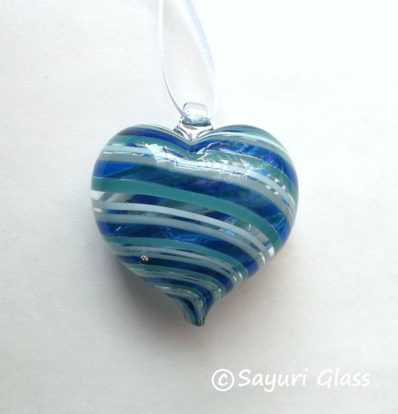 Blue / White Stripe Heart Ornament 2 : DISASTER RELIEF