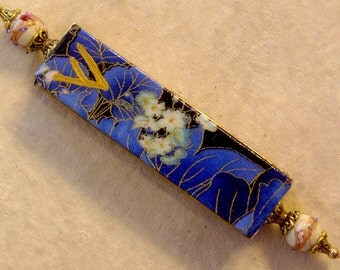 Mezuzah - Blue Flowers with Baby's Breath