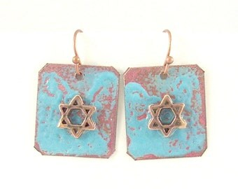 Rustic Copper Enamel Star of David Earrings - Aqua III