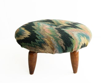 Vintage Upholstered Tufted Footstool - Green Pink Yellow Ikat Wave Mid Century Modern Stool - Living Room Furniture