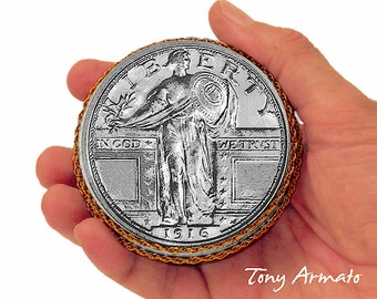 """1916 Standing Liberty Quarter Dollar • Big 3"""" Coin • Trinket, Stash & Ring Box • Limited Edition and Signed • Includes A Free Gift Too !!!"""