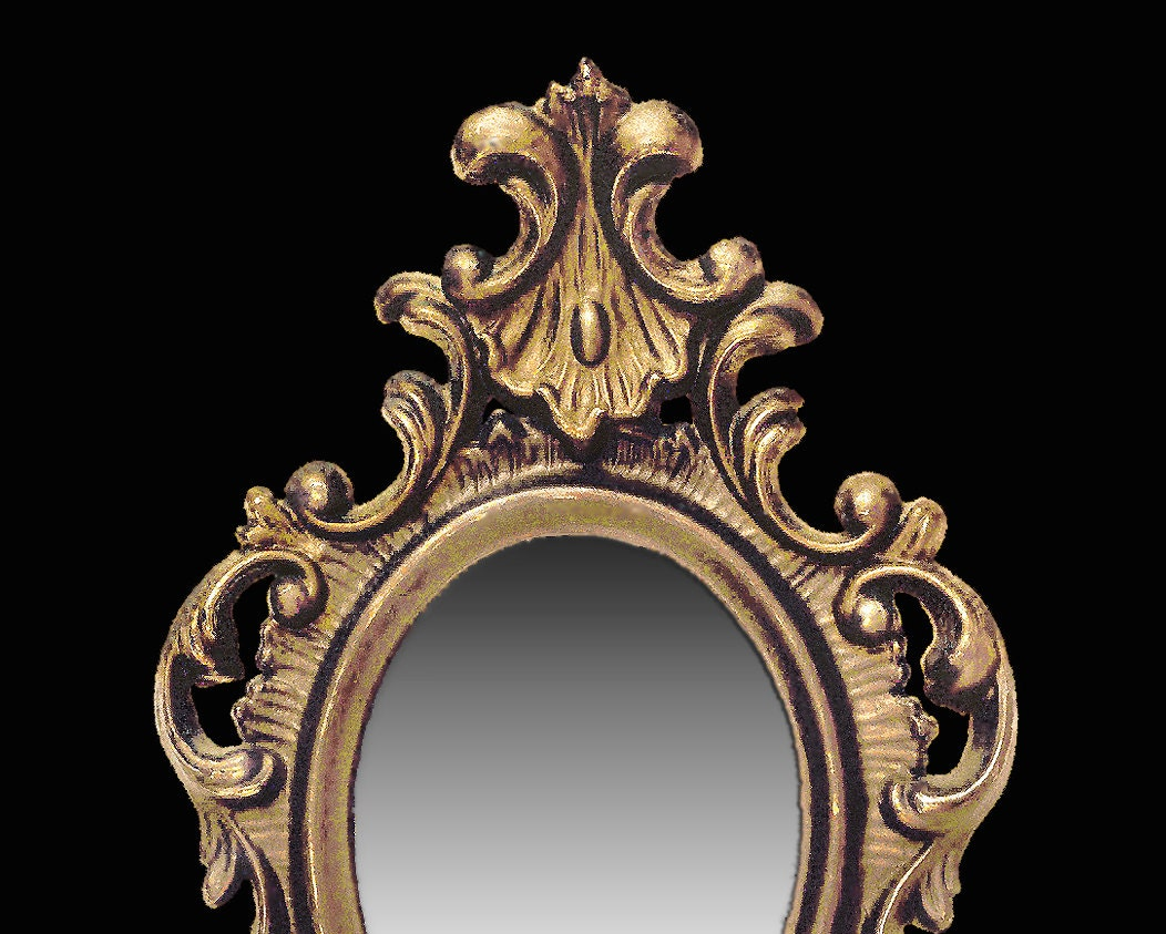 Baroque frame mirror 1950s cast in hard resin with a for Baroque mirror canada