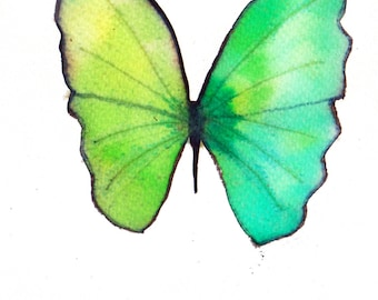 spring green and pale green butterfly. ORIGINAL ART watercolour painting