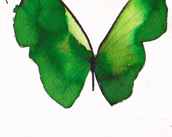 grass green butterfly original watercolour painting 7 x 5 inches
