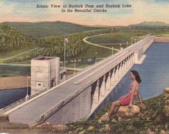 Ozarks, Norfork Dam, Norfork Lake - Linen Postcard - Unused (A1)
