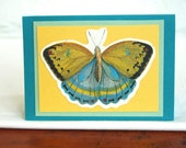 Butterfly Greeting Card Handmade Blank Natural History Note Card Vintage Stationery Gift Card