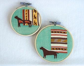 Mid Century Wall Hanging Modernist Southwestern Set of 2 Hoops Vintage Fabric Southwest Minimalist Decor Set