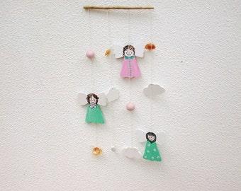Angels mobile, Wooden angels, Nursery Decoration, Angels Decoration, Kids mobile