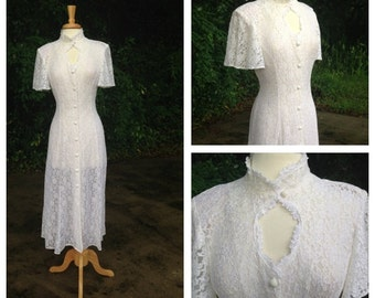 Vintage white Lace Button Down Flutter Sleeves / Wedding