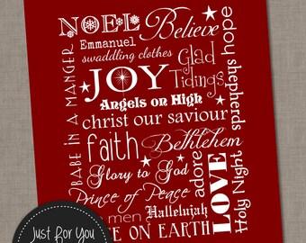 Christmas Wall Art Typography Subway Art - Red - 16x20 - YOU PRINT - Printables, Sign, Poster, Print, Christ, Baby Jesus, Carols, Religious