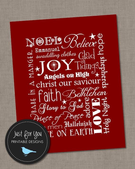 Christmas Wall Art seasonal - just for you printable designs