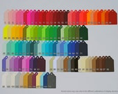 150 Scalloped Tags, CHOOSE SIZE & COLORS. Red, Orange, Yellow, Green, Blue, Purple, Black, White, Brown. Wedding, Favor.