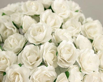 72 Roses / Soft White Paper Flowers Bouquets / 30 mm / Roses With Wire Stems / 72 Blossoms Total / Flower Ball / Wedding / Party Favors