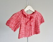 Baby jacket in coral pink  - silk and wool - baby coat age 3 - 6 months - hand dyed yarn - swing cardigan - matinee jacket