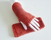 Gauntlet style fingerless gloves - soft and warm - hand made with alpaca yarn - dark red - madder - teen to adult