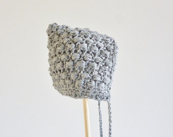 Pixie bonnet with tassles - soft gray hat - age 6 - 12 months - organic cotton - 100% natural materials - eco friendly