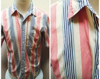 Vintage 1980s Striped Red & Yellow Neiman Marcus Men's Short Sleeve Shirt- L