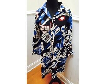 Vintage 1970s Lanvin Mod Blue & Black Shirtdress - 12
