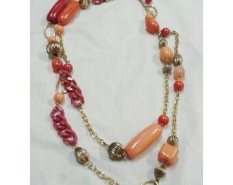 Vintage 1970s Oversized Peach & Fuchsia Beads