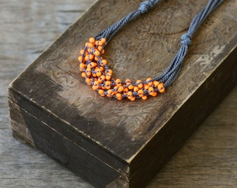 Orange grey multi strand crochet necklace Boho chic jewelry Rustic Fall Autumn fashion Gift for her Layered beaded necklace Handcrafted