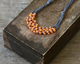 SALE Orange grey multi strand crochet necklace Boho chic jewelry Rustic
