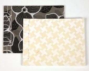 Japanese Style Notebooks - Black Flowers & White Crosses - Set of 2