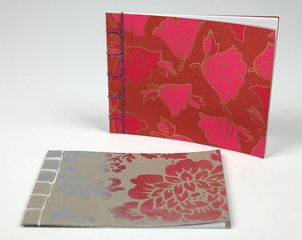 Japanese Style Notebooks - Pink and Silver Flowers - Set of 2