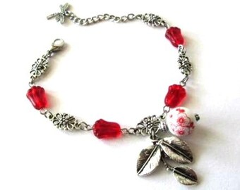 Red flower bracelet jewelry, antiqued silver leaf bracelet, red flower bead bracelet