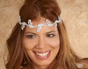 Bridal Headpiece, Bridal Halo. Silver Headwrap. Wedding Hair accessory, Bridal Adornment, rhinestone head wrap, Wedding halo. mdw-0019