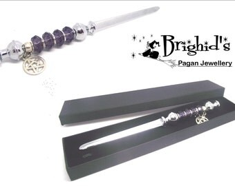 Pagan Athame With Deep Amethyst Faceted Crystal and Pentagram - Made to Order