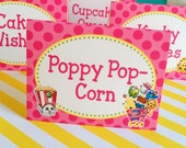 8 Shopkins - Personalized and Printed  Food Label Tent Cards - Placecards
