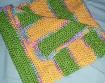 Crochet Gender Neutral Baby Blanket Afghan Yellow Green Striped Rainbow Pastel Border Boy Girl