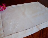 French Linen Doily White Embroidered Centerpiece Doily Table Topper Tray Liner Vintage Doilies