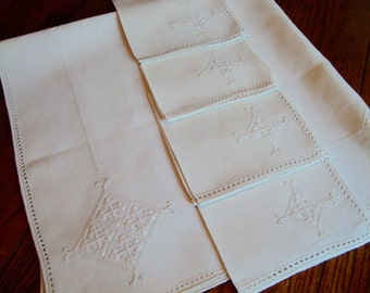 Madeira Tea Cloth and Four Napkins Linen Tablecloth Set White Ivory Embroidered Table Cover