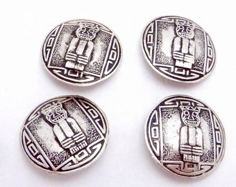Vintage Peru Peruvian Sterling Silver Signed God Idol Buttons Set of 4 Big 22356