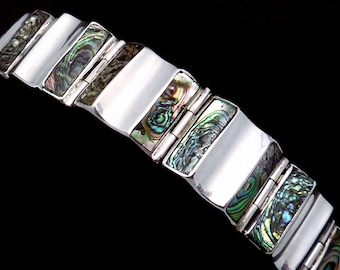 Vintage A Munoz Taxco Mexican Sterling Silver Shell Modernist Bracelet 21809
