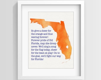INSTANT DOWNLOAD University of Florida fight song handpainted watercolor printable art, Gators wall art, gift idea