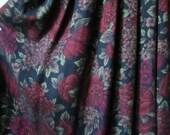 Midi Skirt long boho skirt gypsy clothing tapestry flowers floral print roses high waisted black burgundy wine women small 2 vintage 80s 90s