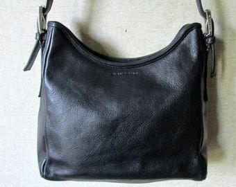 Black Leather Shoulder Bag bucket bag long strap satchel purse hipster hobo bag medium size pebble grain vintage 90s Evan Picone