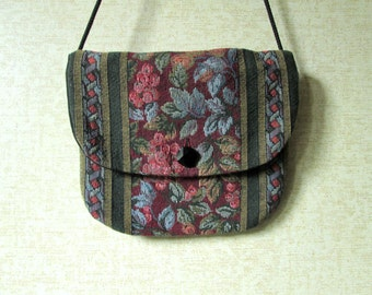 Tapestry Crossbody Boho Bag long strap purse wallet passport mini bag burgundy green blue floral tapestry fabric purse vintage 70s 80s