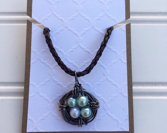 Customizeable Nest Necklace, Leather cord
