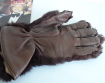 Gloves, brown, fur, costume, Bear, Inuit, vintage.